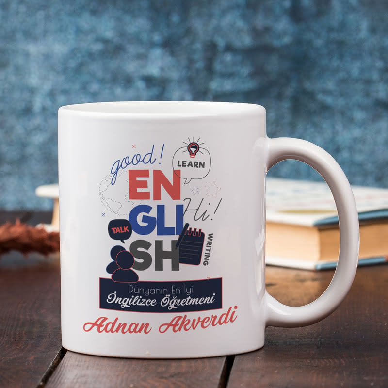 İngilizce Öğretmenlerine Hediye Kişiye Özel Kupa Sunum Seti