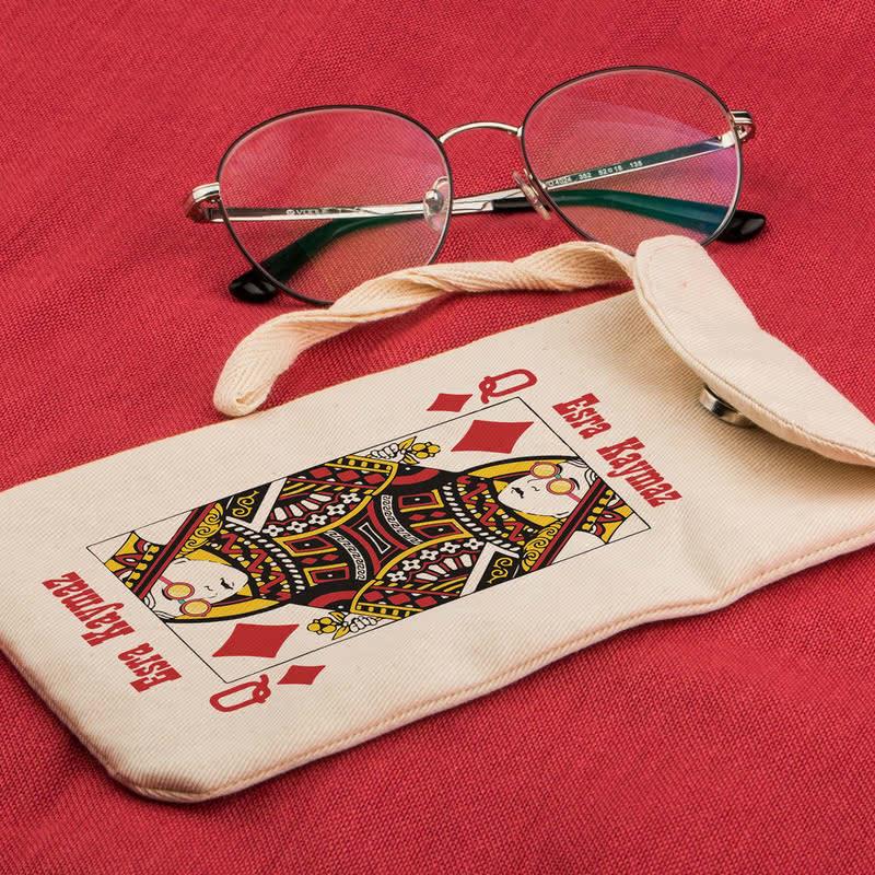 İskambil Oyun Kartı Tasarımlı Gözlük Kılıfı