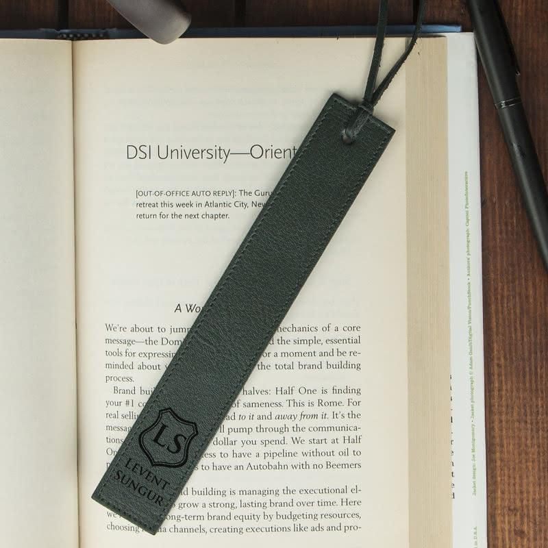İsme Özel Logo Tasarımlı Deri Kitap Ayracı