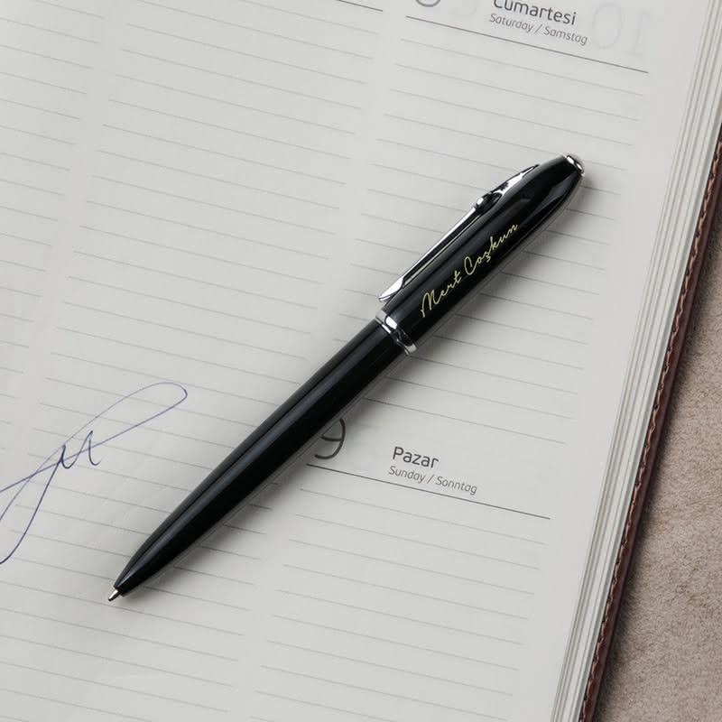 İsme Özel Metal Siyah Tükenmez Kalem