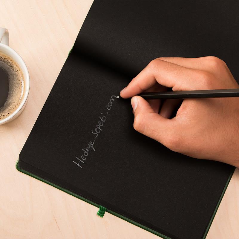İsme Özel Siyah Yapraklı Not Defteri Kalem Seti