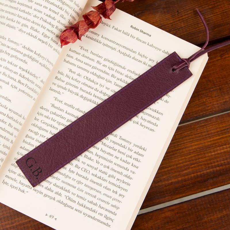 İsminizin Baş Harfleri Yazılı Deri Kitap Ayracı