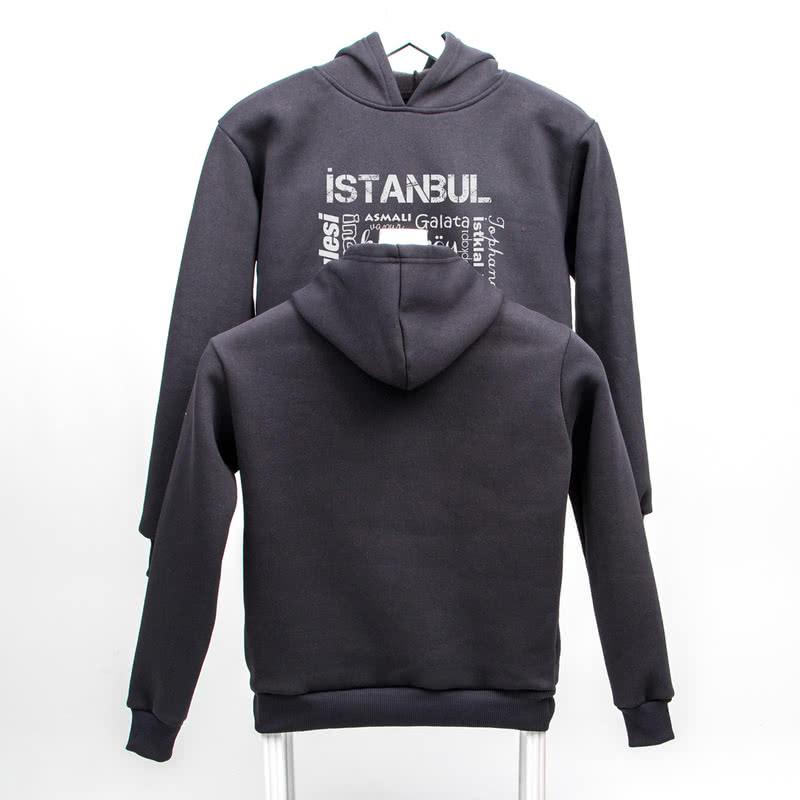 İstanbulun Klasikleri Baskılı Kapşonlu Sweatshirt