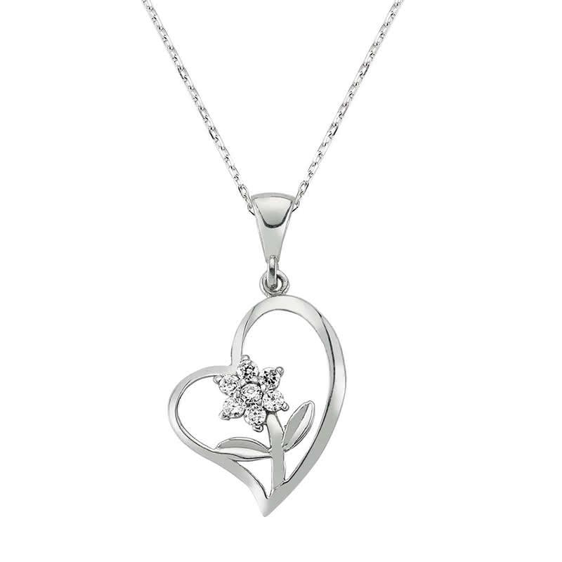 Kalbimin Çiçeğine Hediye Gümüş Kolye