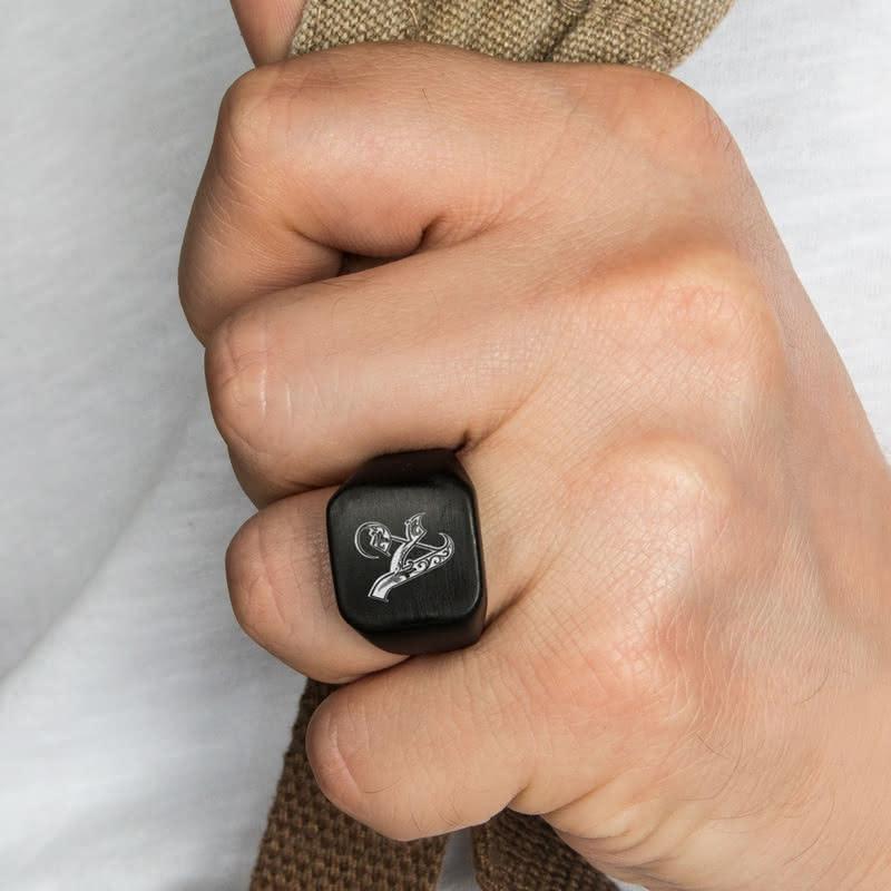 Kaligrafik Harf Yazılı Metal Yüzük