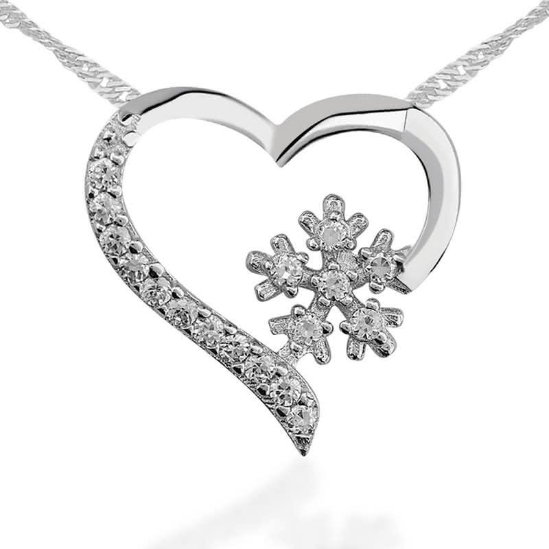 Kar Tanesi Kalp Gümüş Bileklik ve Kolye Seti