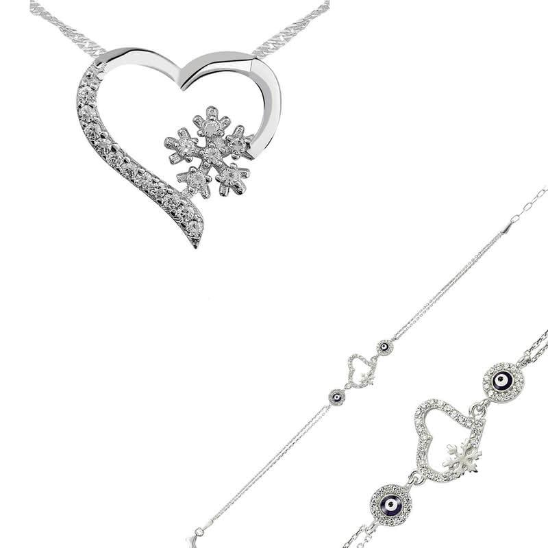 Sevgiliye Hediye Gümüş Bileklik ve Kolye Seti