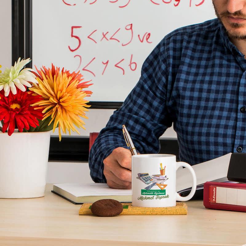 Matematik Öğretmenlerine Hediye İsme Özel Kupa Sunum Seti