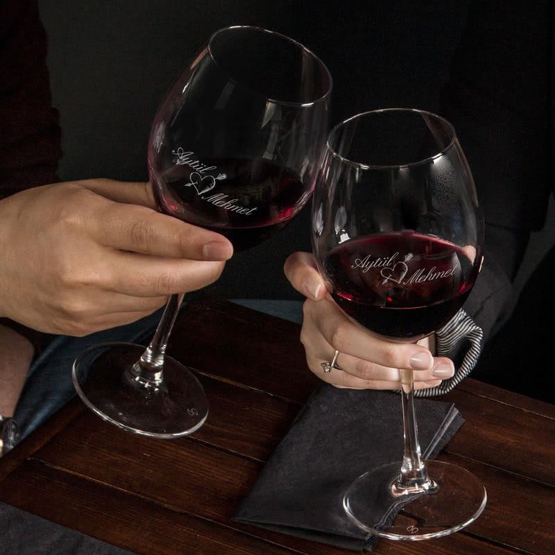 Kız Arkadaşa Hediye Şarap Kadehi Seti