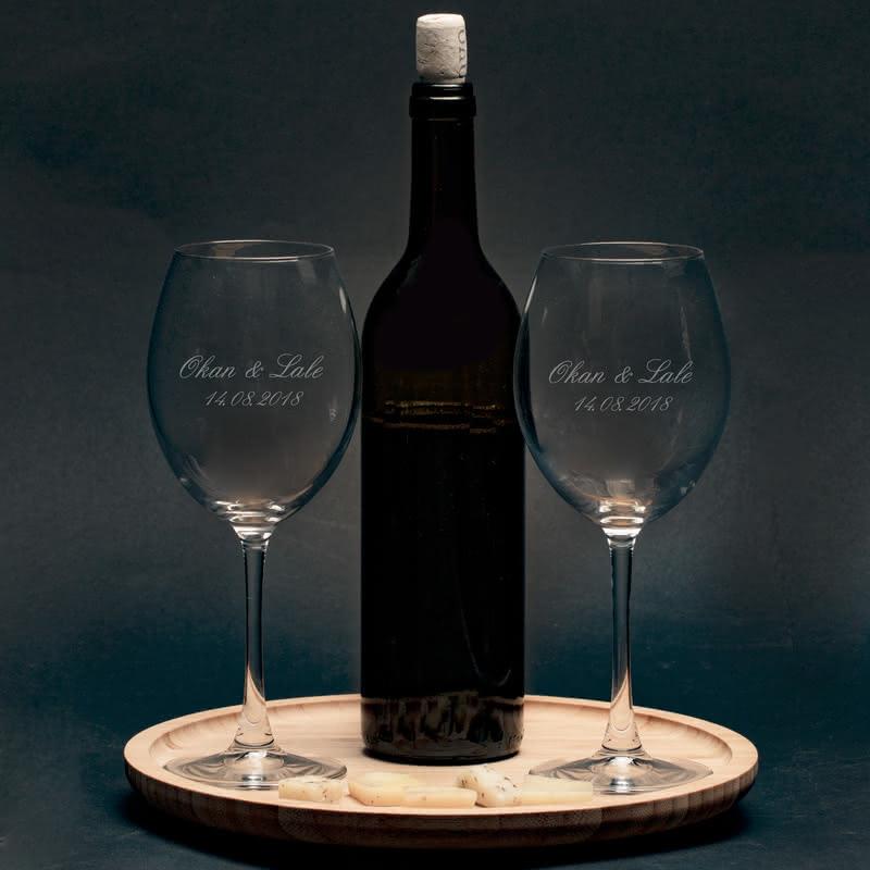 Şarap Kadeh Seti Sevgiliye Özel Yıldönümü Hediyesi