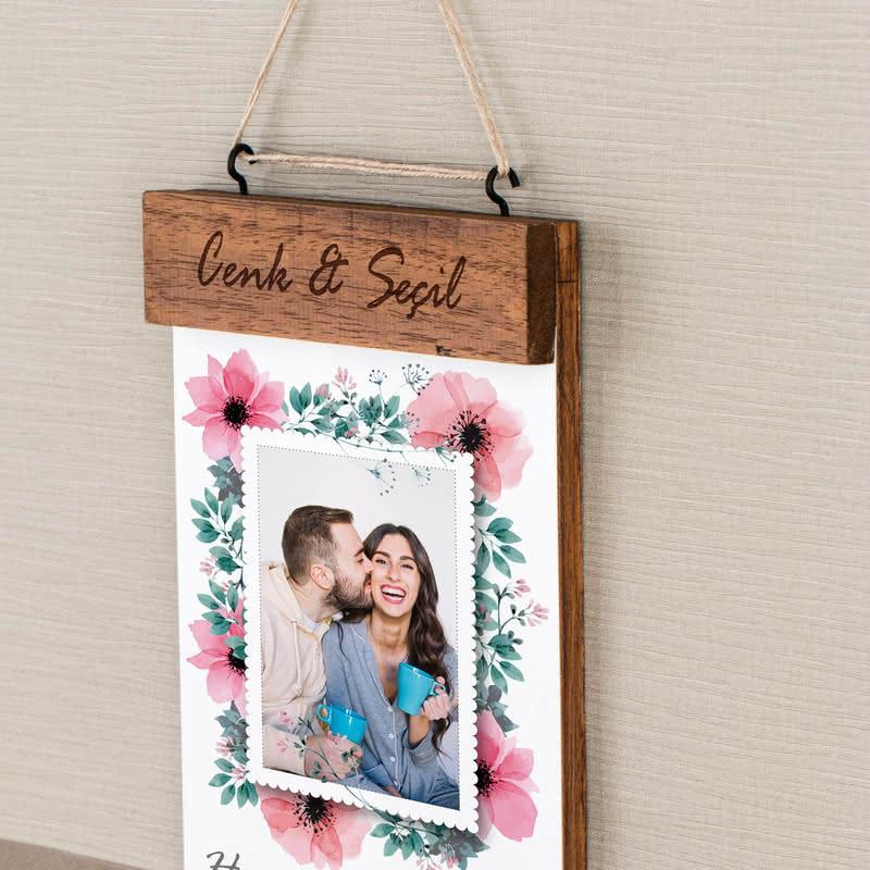 Sevgiliye Hediye Fotoğraf Baskılı Masif Duvar Anahtarlığı