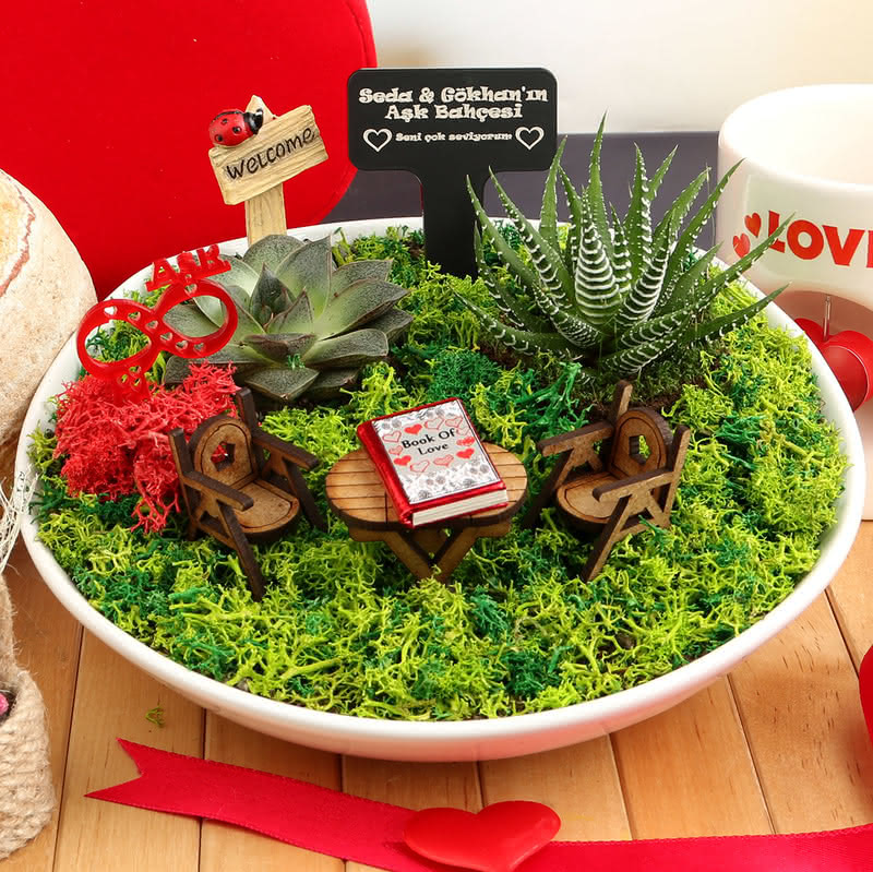 Sevgiliye Özel Aşk Kitaplı Minyatür Bahçe