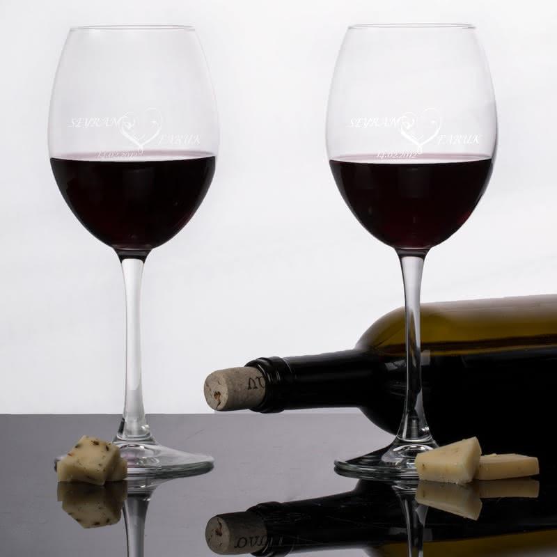 Sevgiliye Özel İsimli Şarap Kadehleri