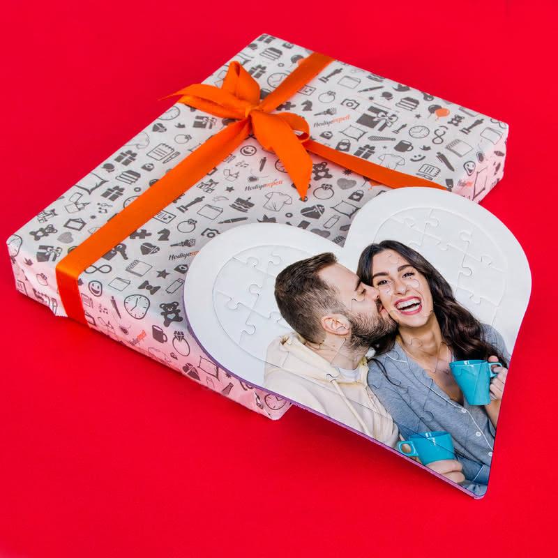 Sevgiliye Yıl Dönümü Hediyesi 27 Parça Kalp Puzzle