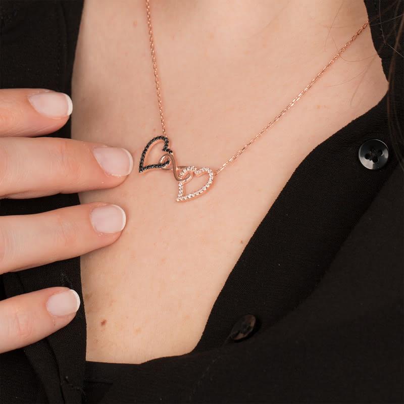 Sevgilinize Özel Sonsuzluk Sembollü İki Kalp Kolye