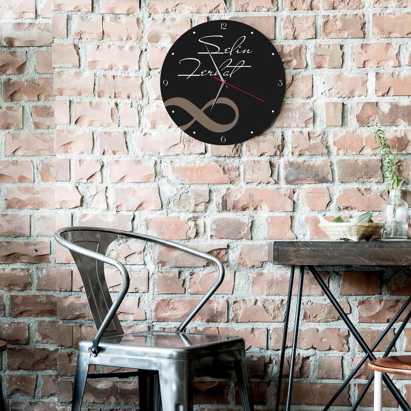 Sonsuzluk İşareti Tasarımlı Baskılı Duvar Saati