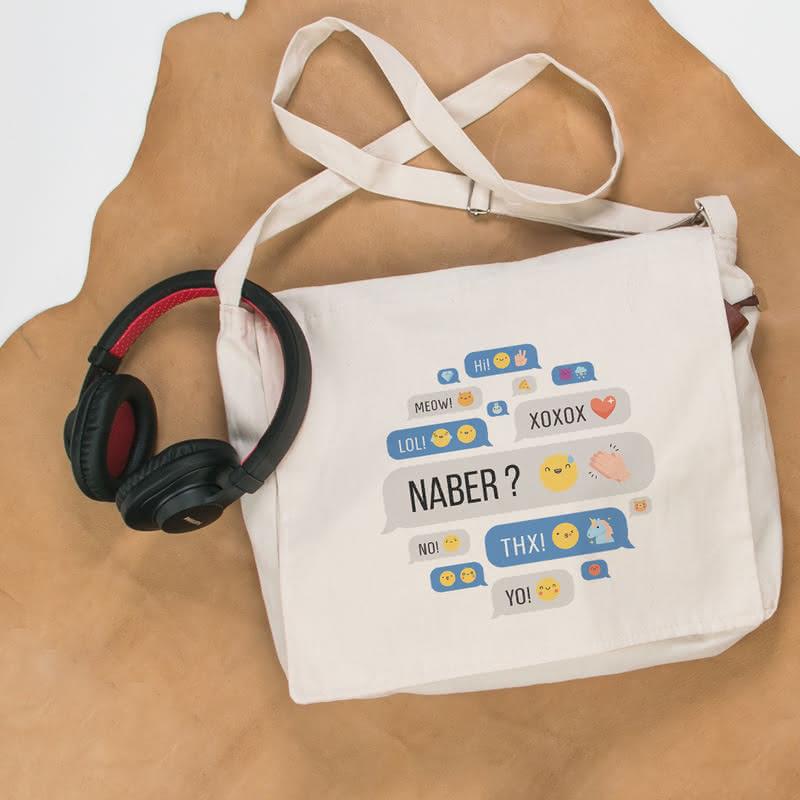 Sosyal Çanta Temalı Bez Postacı Çantası