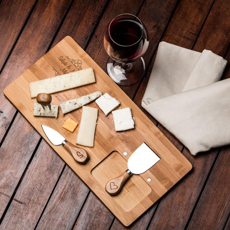 Yeni Evli Çifte Hediye Bambu Peynir Tabağı