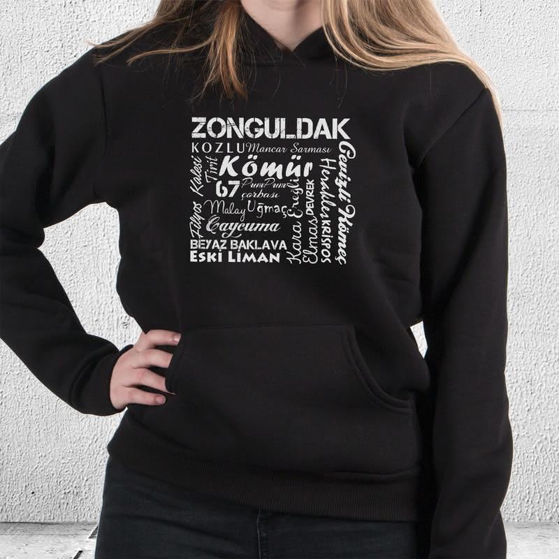 Zonguldak Şehri Tasarımlı Kapşonlu Sweatshirt