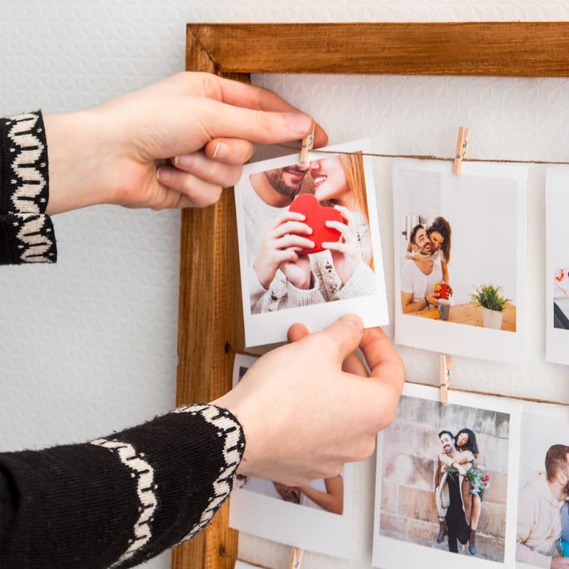 12 Fotoğraf Baskılı Mandallı Anı Çerçevesi