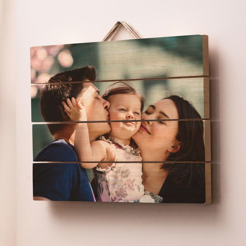 Aileye Hediye Fotoğraf Baskılı Ahşap Palet Tablo