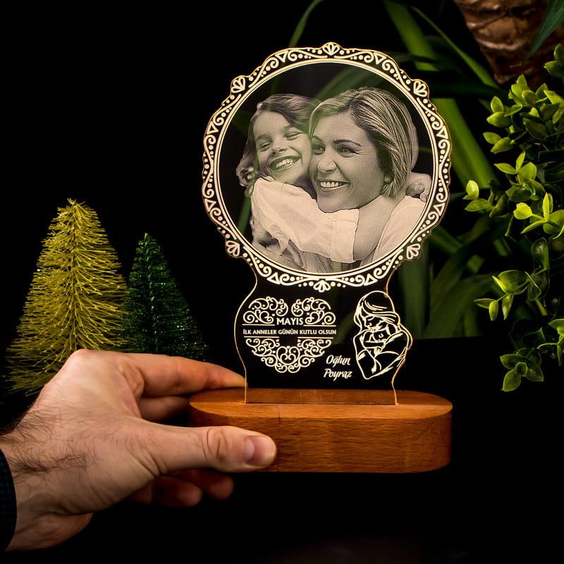 Anneye Hediye Fotoğraf Baskılı Led Lamba