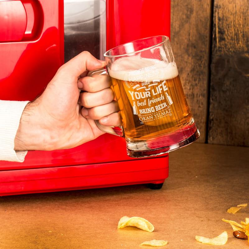 Arkadaşa Özel Mesajlı İsme Özel Bira Bardağı