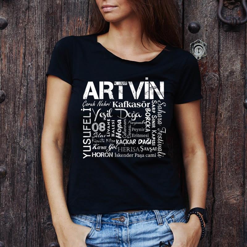 Artvin Özellikleri Tasarımlı Baskılı Tişört