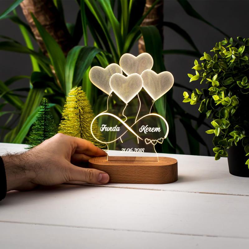 Aşık Kalpler İsim Yazılı 3 Boyutlu Led Lamba