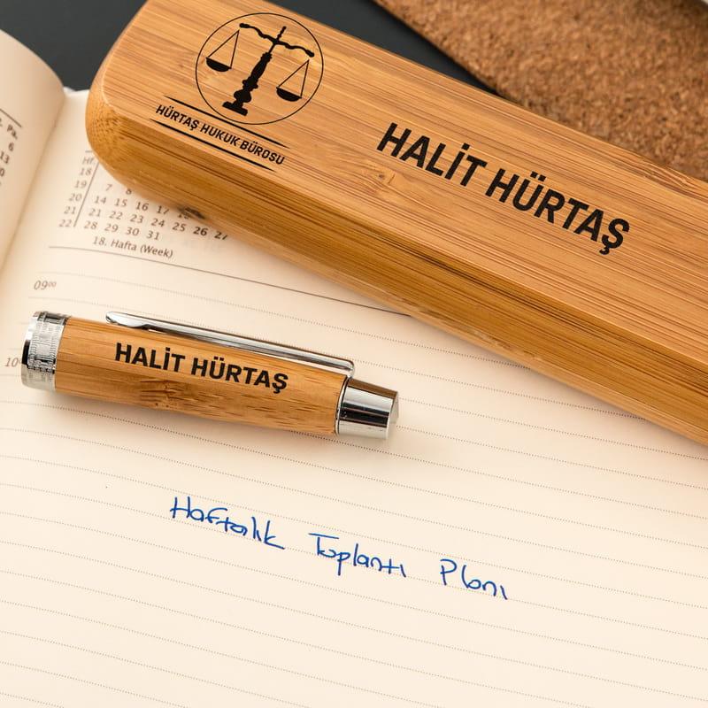 Avukata Hediye İsim Yazılı Kutulu Bambu Kalem Seti