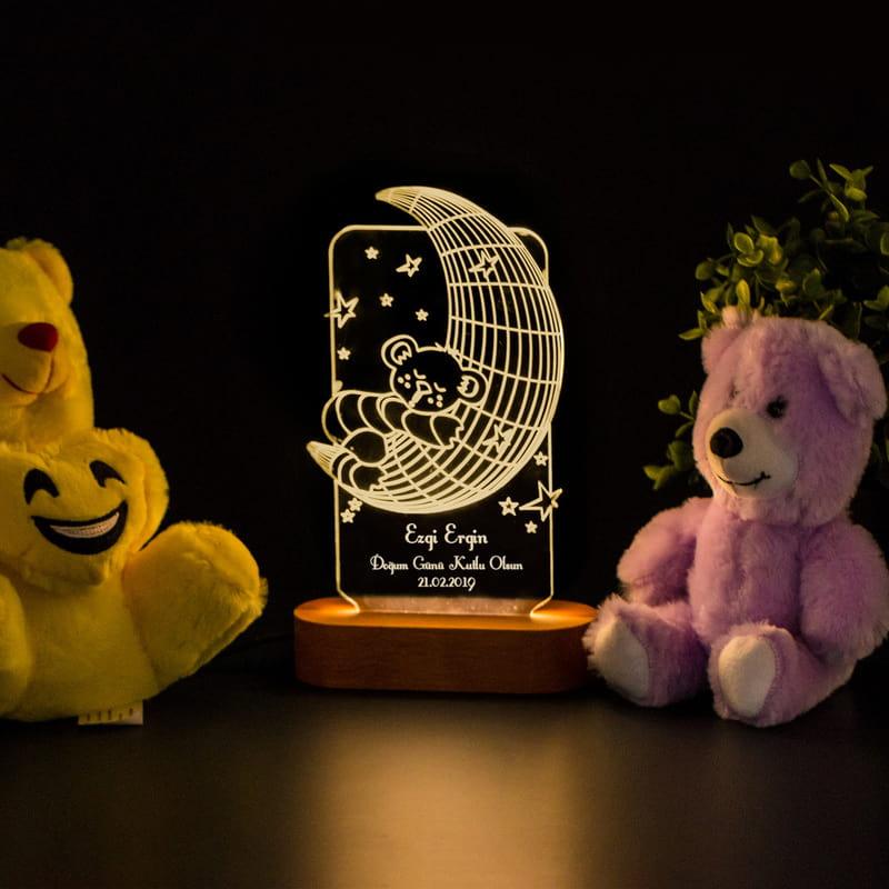 Çocuk Odası için Hediyelik İsimli 3d Led Gece Lambası