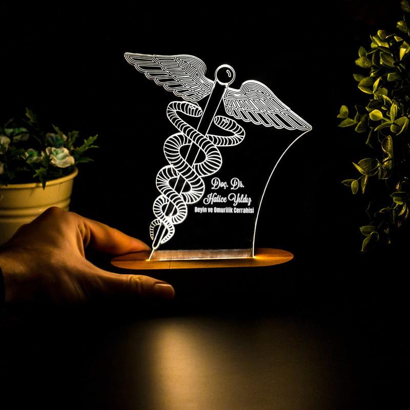 Doktora Hediye Tıp Logolu 3 Boyutlu Led Lamba