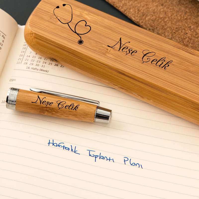 Doktorlara Özel Bambu Kutulu Kalem Seti