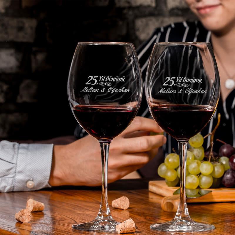 Evlilik Yıl Dönümü Hediyesi Toscana Şarap Kadehi Seti
