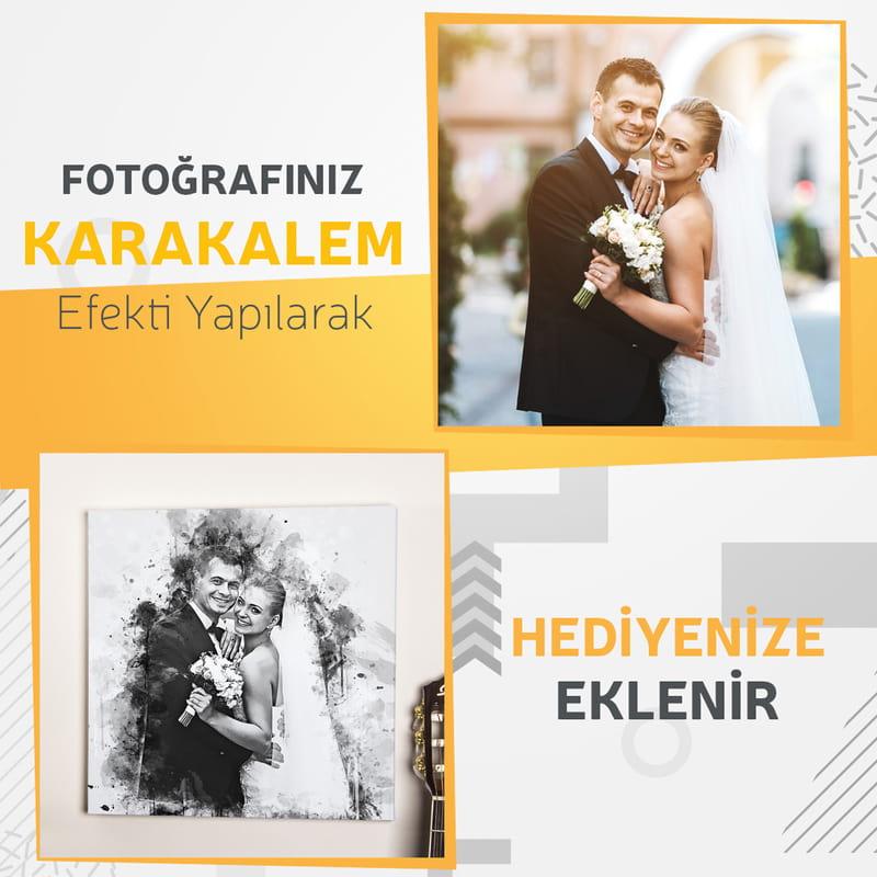 Evlilik Yıldönümü Hediyesi Karakalem Baskılı Kanvas Tablo 40x40