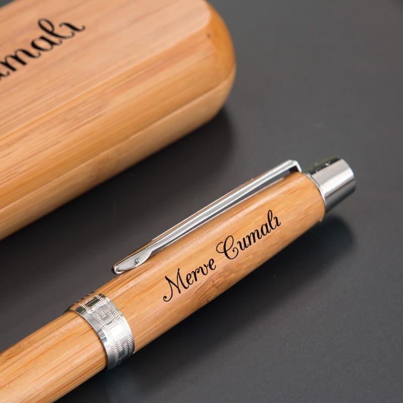İsim Yazılı Bambu Kutulu Kalem Seti