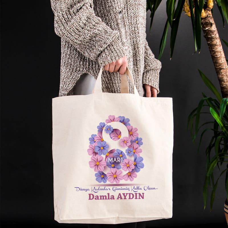 Kadınlar Gününe Özel Kurumsal Hediyelik Bez Alışveriş Çantası