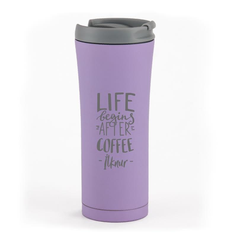 Kahve Severlere Motto Mesajlı Çelik Termos
