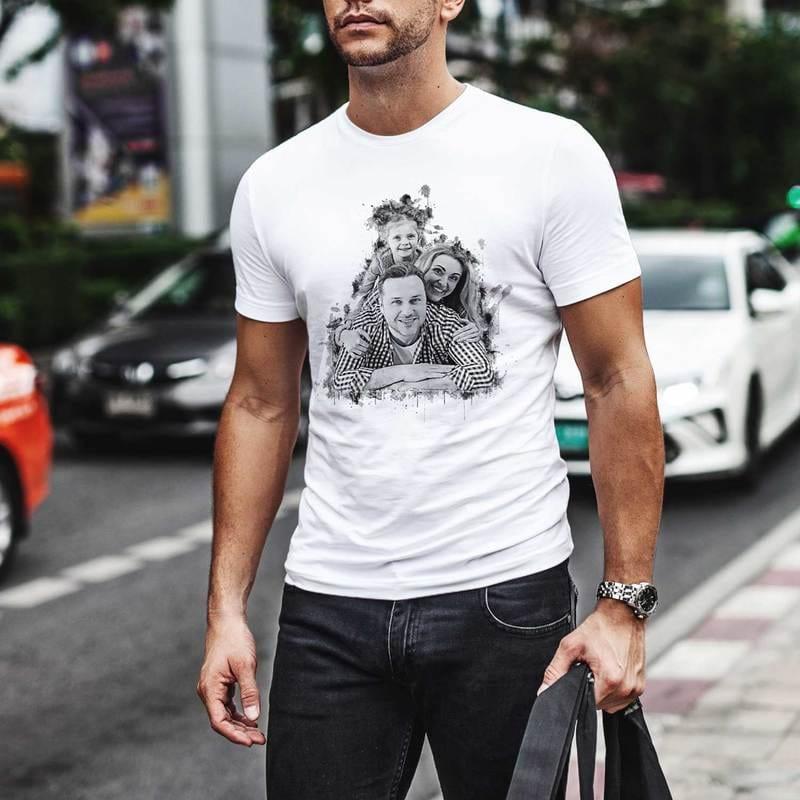 Karakalem Efektli Fotoğraf Baskılı Tişört