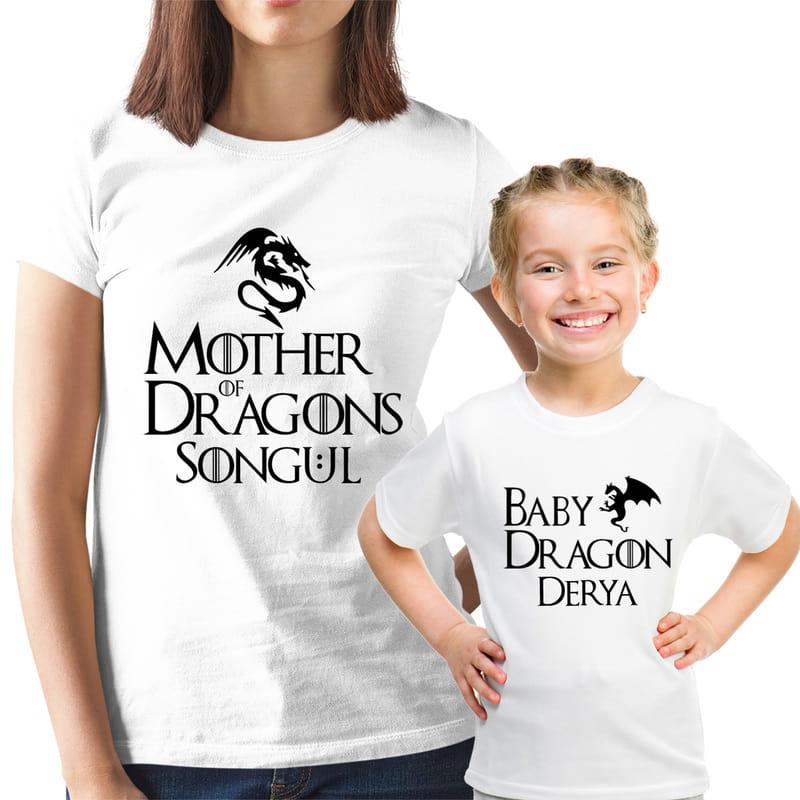 Kişiye Özel Esprili Anne Kız Tişört Kombini