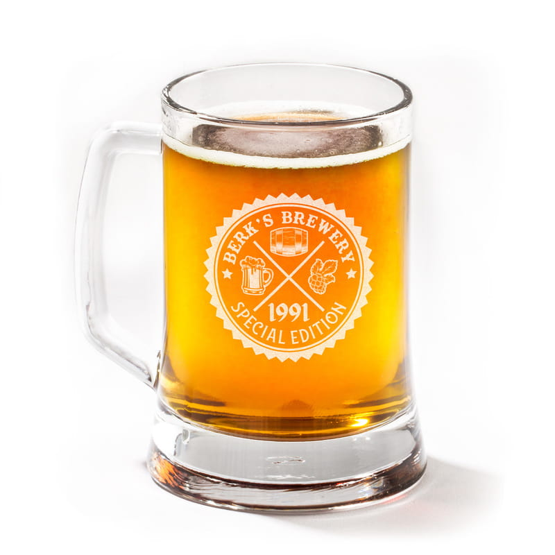 Kişiye Özel Retro Arma Tasarımlı Bira Bardağı
