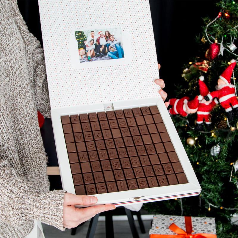Kişiye Özel Yılbaşı hediyesi Mesajlı Harf Çikolata