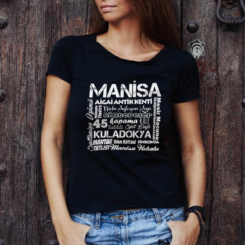 Manisalı Arkadaşa Hediye Memleket Tasarımlı Baskılı Tişört