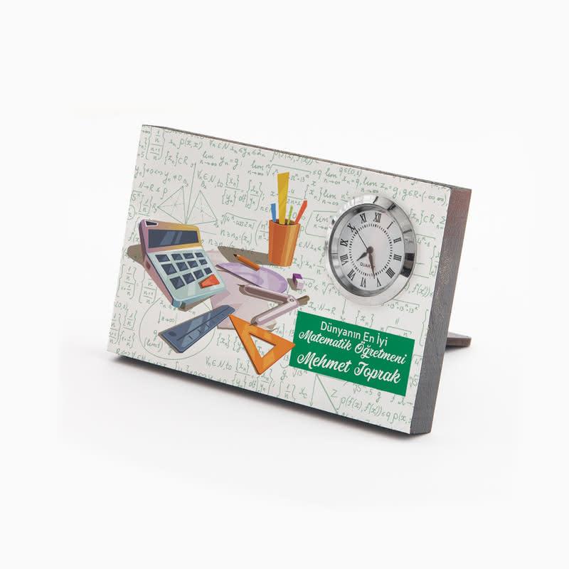 Matematik Öğretmenine Hediye Saatli Çerçeve