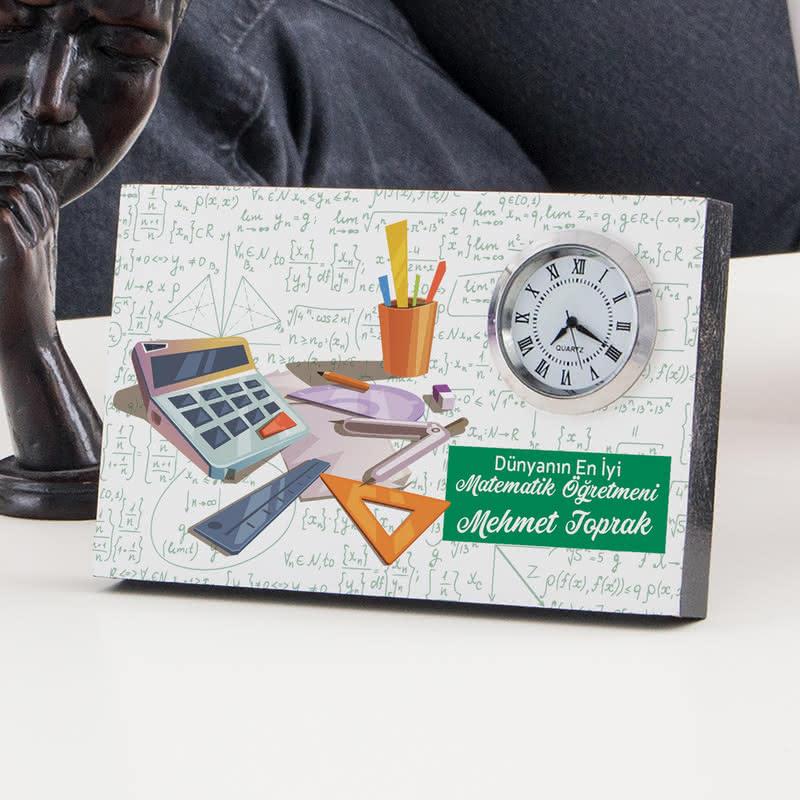 Matematik Öğretmenine Öğretmenler Günü Hediyesi Saatli Çerçeve