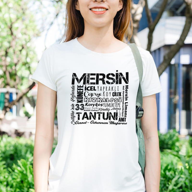 Mersinlilere Hediye Memleket Tasarımlı Baskılı Tişört