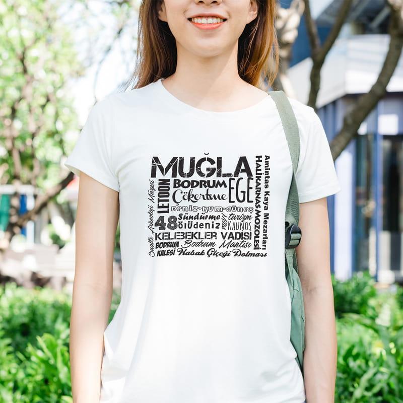 Muğla İline Özel Memleket Tasarımlı Baskılı Tişört