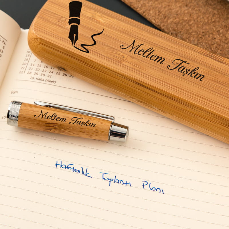 Öğretmene Hediye Bambu Kutulu Kalem Seti