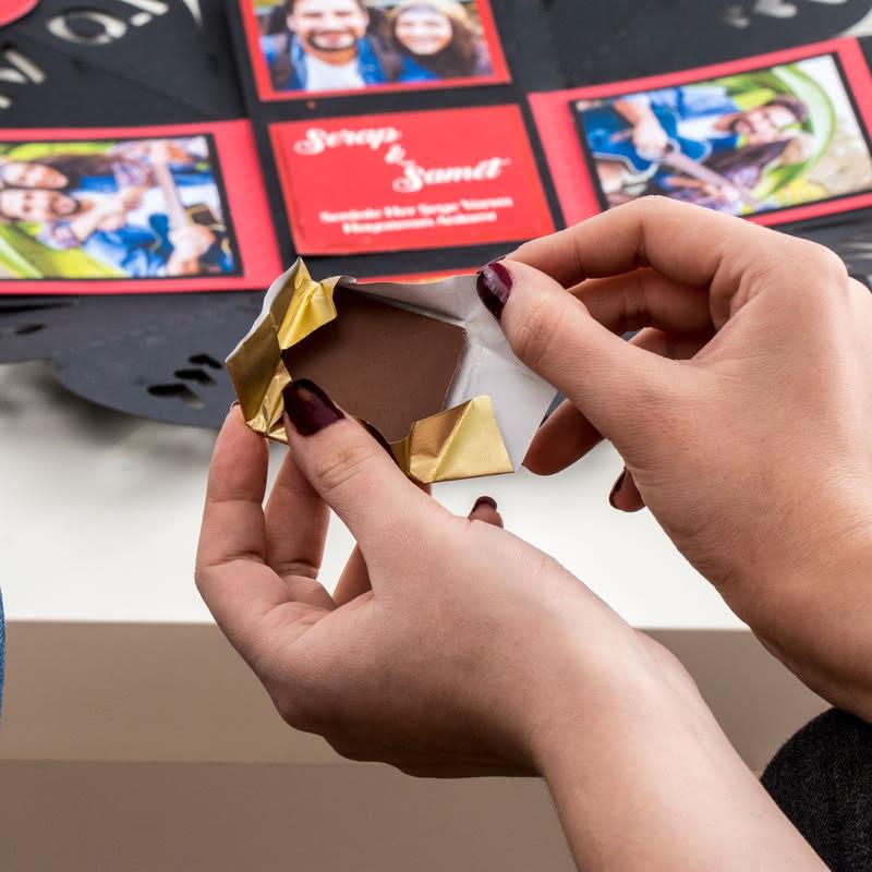 Patlayan Hediye Kutusunda Sürpriz Çikolata Sepeti