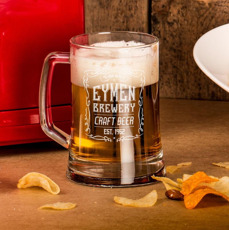 Retro Tasarımlı İsme Özel Bira Bardağı